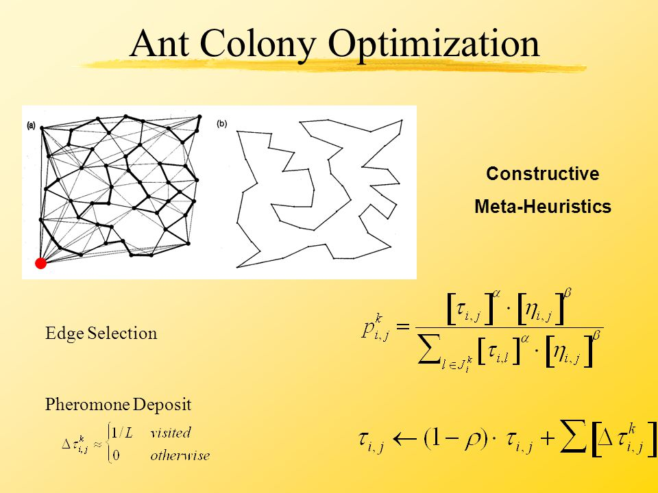 Ant Colony Optimization Constructive Meta-Heuristics Edge Selection Pheromone Deposit