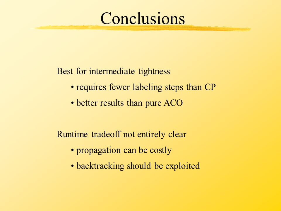 Conclusions Best for intermediate tightness requires fewer labeling steps than CP better results than pure ACO Runtime tradeoff not entirely clear pro