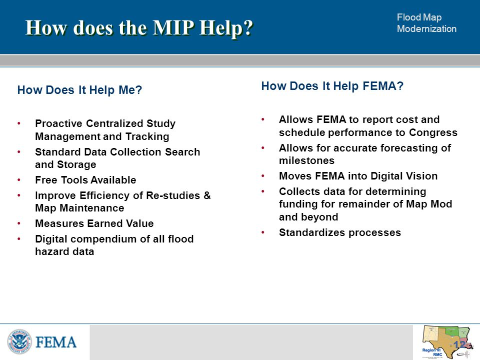 Flood Map Modernization 12 How does the MIP Help. How Does It Help Me.