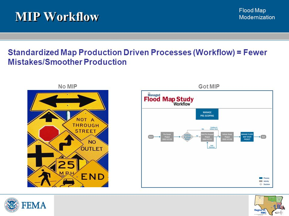 Flood Map Modernization 19 Standardized Map Production Driven Processes (Workflow) = Fewer Mistakes/Smoother Production MIP Workflow Got MIPNo MIP