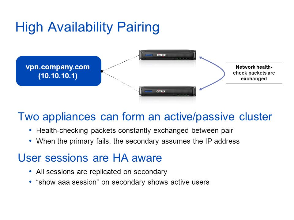 High Availability Pairing vpn.company.com (10.10.10.1) Network health- check packets are exchanged Master Backup Two appliances can form an active/passive cluster Health-checking packets constantly exchanged between pair When the primary fails, the secondary assumes the IP address User sessions are HA aware All sessions are replicated on secondary show aaa session on secondary shows active users