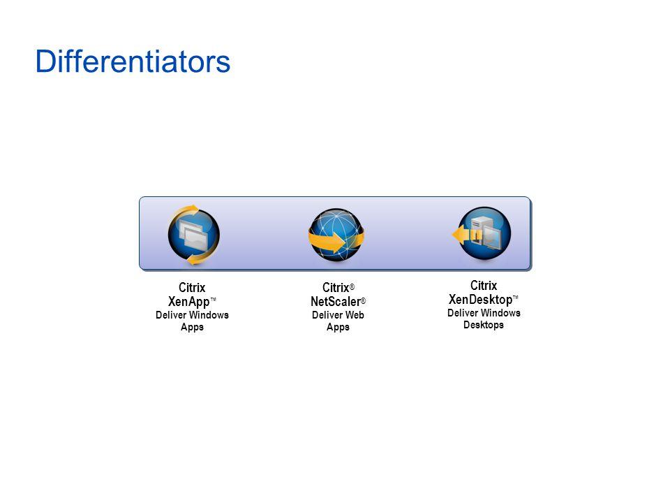 Differentiators Citrix XenApp ™ Deliver Windows Apps Citrix XenDesktop ™ Deliver Windows Desktops Citrix ® NetScaler ® Deliver Web Apps