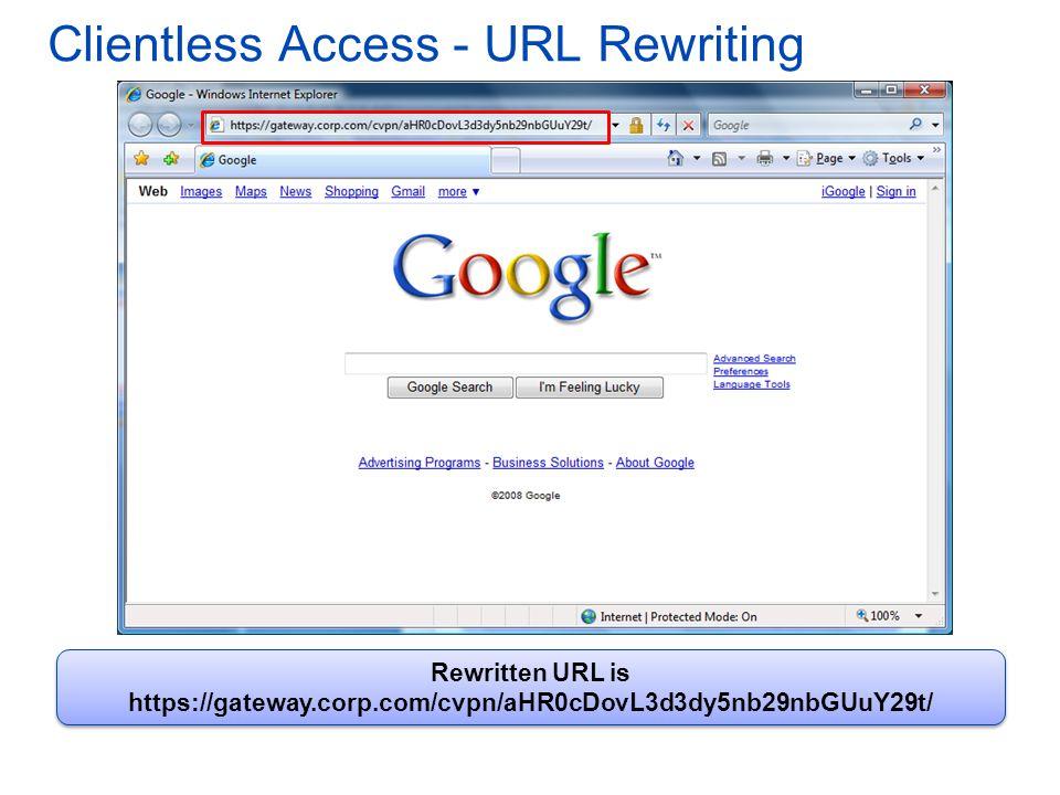 Clientless Access - URL Rewriting Rewritten URL is https://gateway.corp.com/cvpn/aHR0cDovL3d3dy5nb29nbGUuY29t/