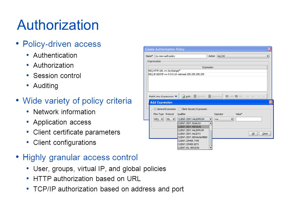Authorization Policy-driven access Authentication Authorization Session control Auditing Wide variety of policy criteria Network information Applicati