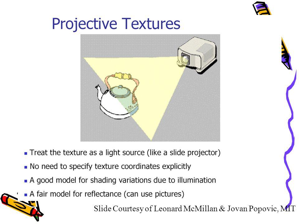 Slide Courtesy of Leonard McMillan & Jovan Popovic, MIT