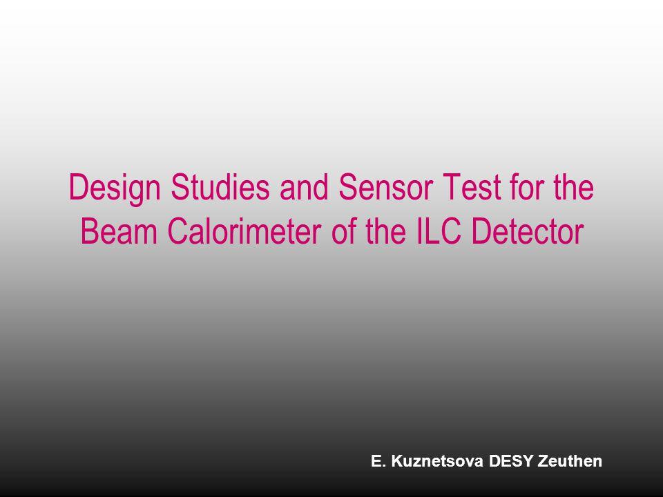 Design Studies and Sensor Test for the Beam Calorimeter of the ILC Detector E.