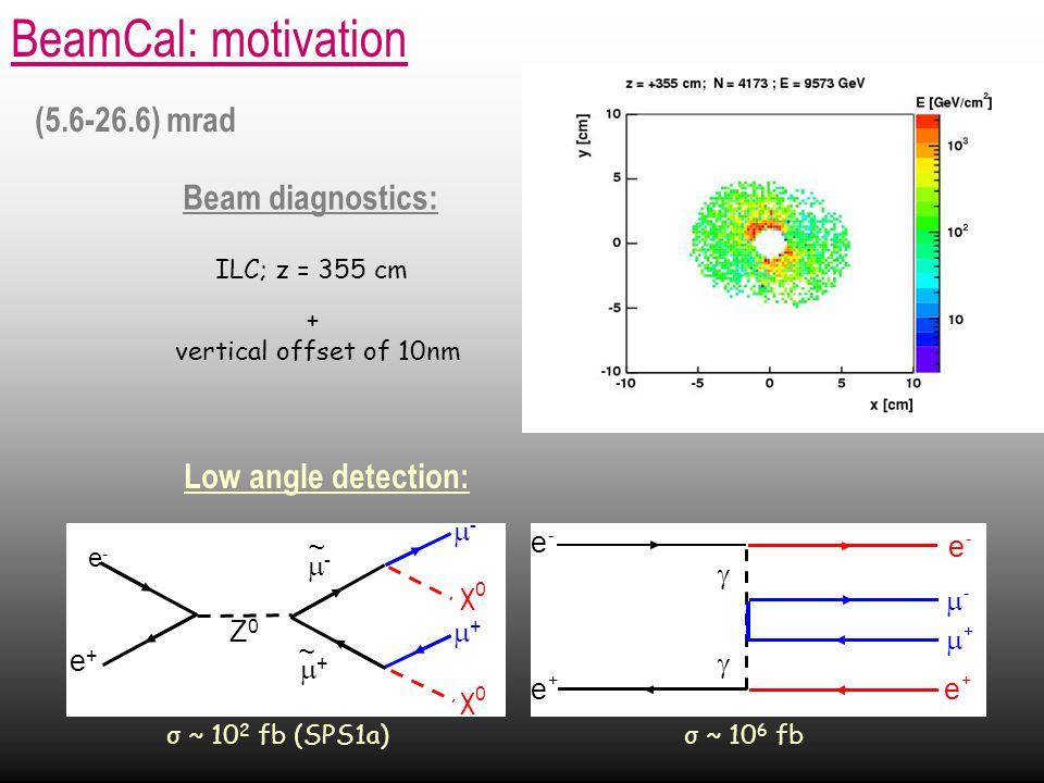 BeamCal: motivation Beam diagnostics: Low angle detection: ILC; z = 355 cm + vertical offset of 10nm (5.6-26.6) mrad σ ~ 10 2 fb (SPS1a) σ ~ 10 6 fb -- e+e+ e-e- Z0Z0 -- ~ χ0χ0 ++ ~ ++ χ0χ0 e + e - e + e -   +  - 