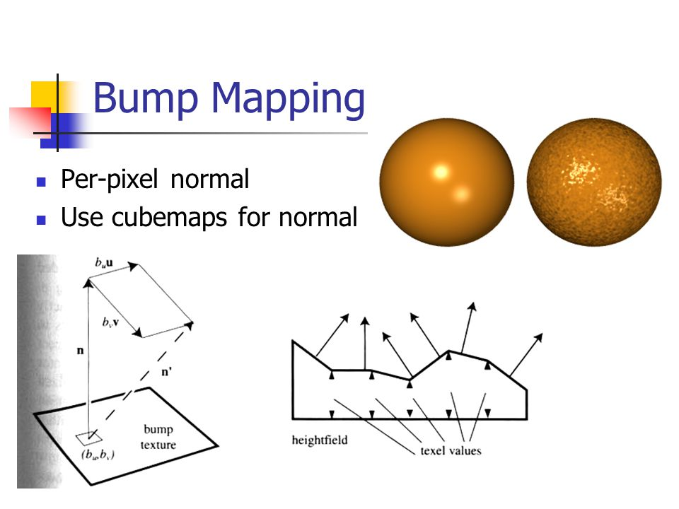 Bump Mapping Per-pixel normal Use cubemaps for normal