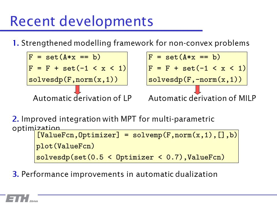 Recent developments 1. Strengthened modelling framework for non-convex problems Automatic derivation of LPAutomatic derivation of MILP 2. Improved int