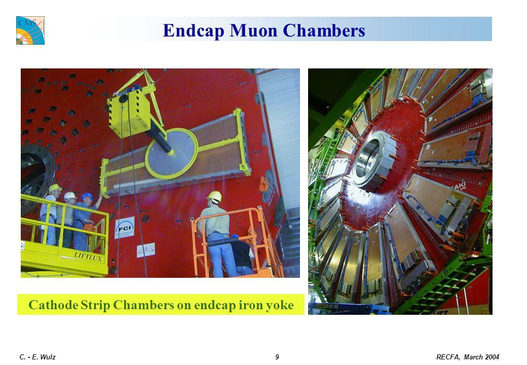 RECFA, March 2004 C. - E. Wulz9 Endcap Muon Chambers Cathode Strip Chambers on endcap iron yoke