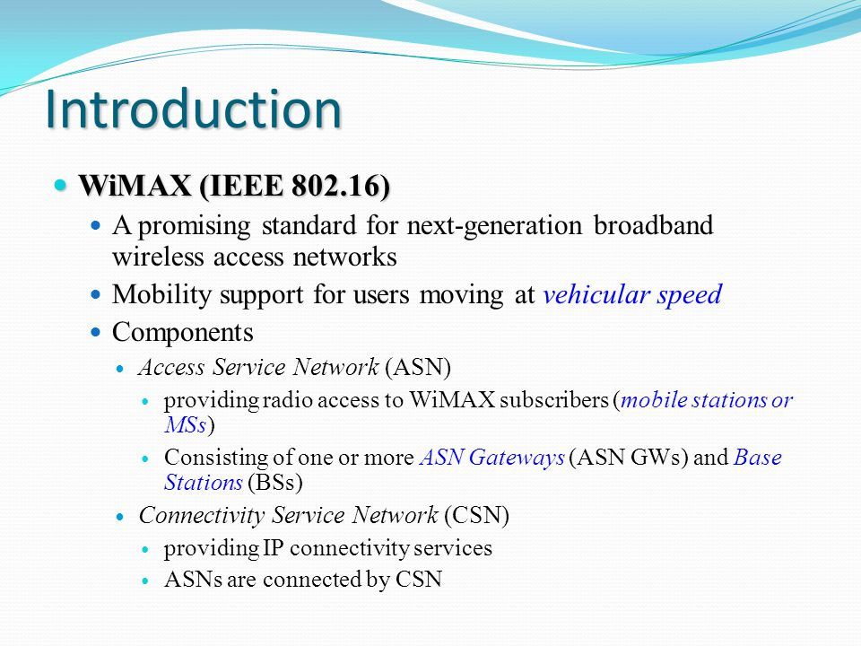 Generic Mobile WiMAX Network Architecture