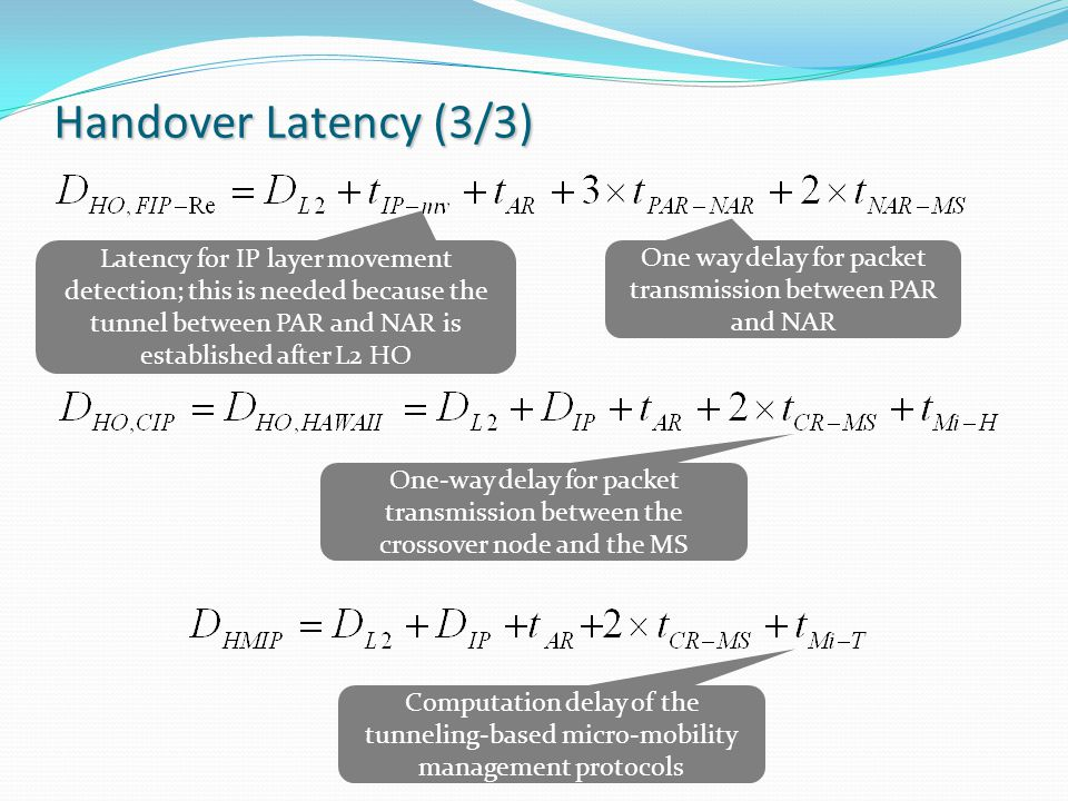 Handover Latency (3/3) One-way delay for packet transmission between the crossover node and the MS Computation delay of the tunneling-based micro-mobility management protocols One way delay for packet transmission between PAR and NAR Latency for IP layer movement detection; this is needed because the tunnel between PAR and NAR is established after L2 HO
