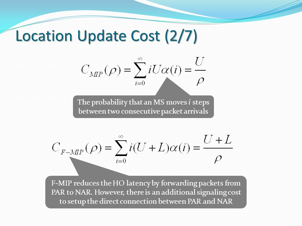 Location Update Cost (2/7) The probability that an MS moves i steps between two consecutive packet arrivals F-MIP reduces the HO latency by forwarding packets from PAR to NAR.