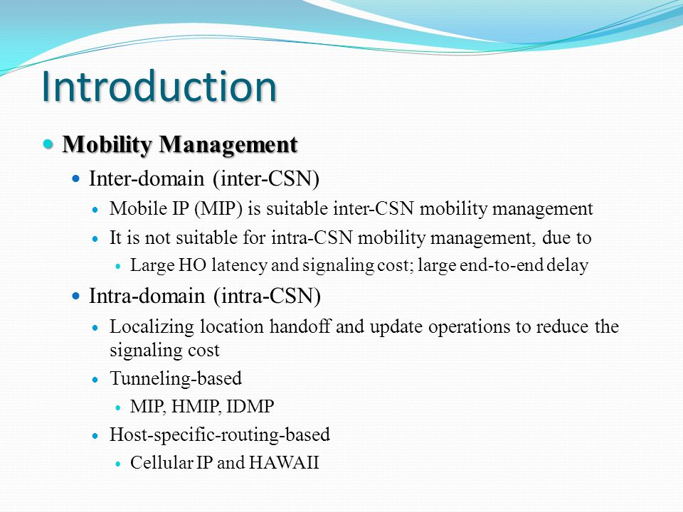 Fast Intra-Network and Cross-layer Handover (FINCH) Proposed for intra-CSN (intra-domain) mobility management Achieving fast handover (HO), especially for real-time services Cooperating with Mobile IP Localizing location update to reduce the handover latency and signaling cost in Mobile IP Cross-layer design: considering HO in both link and network layers (L2 and L3) FINCH is a generic protocol for other IEEE 802-series standards