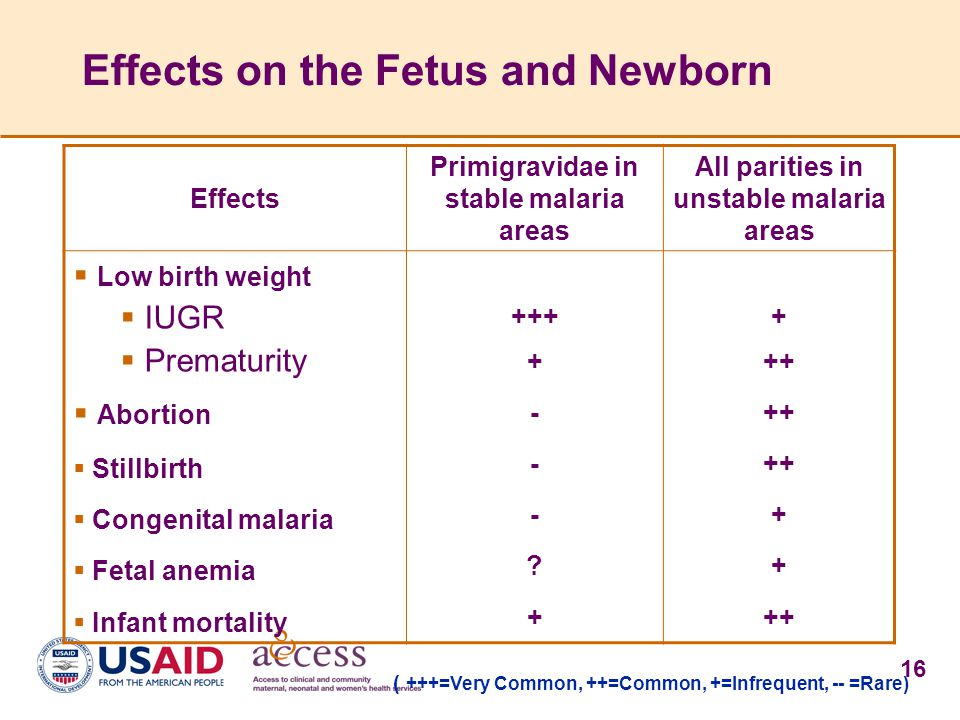 16 Effects on the Fetus and Newborn Effects Primigravidae in stable malaria areas All parities in unstable malaria areas  Low birth weight  IUGR  P