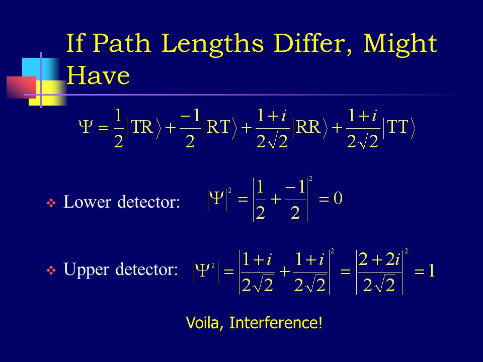 What wave function would give 50% at each detector.