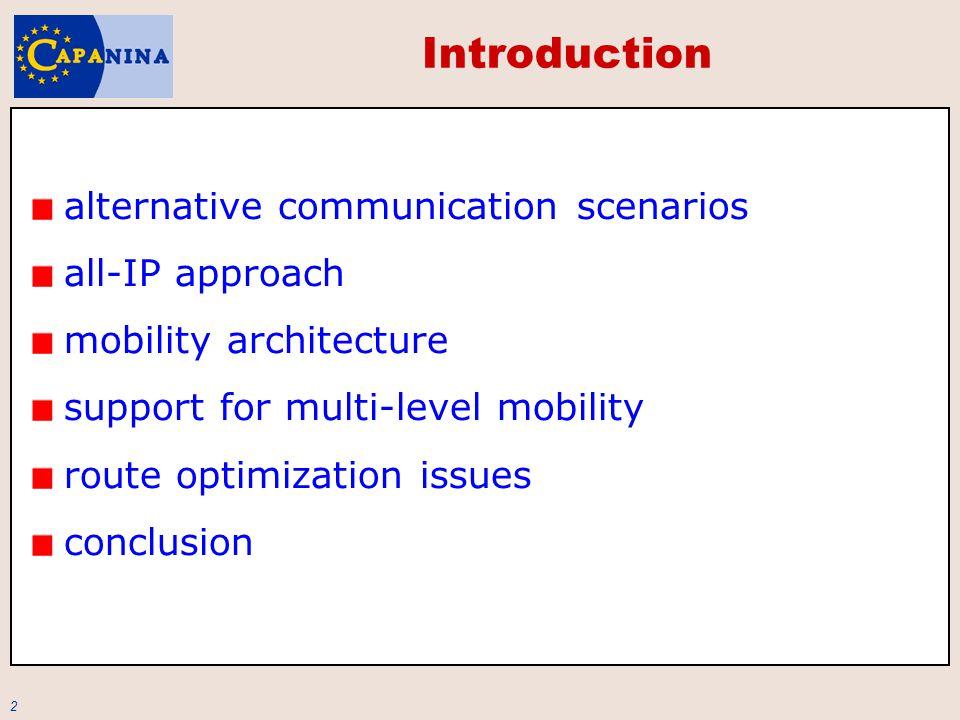 3 Communication Scenarios alternatives stand-alone vs.