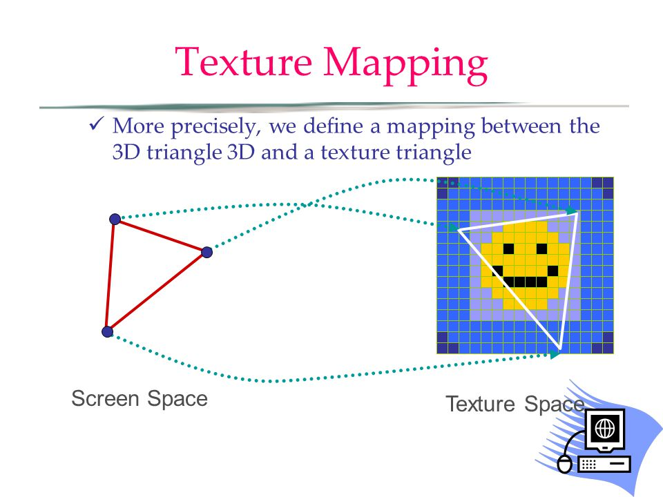 Texture Mapping More precisely, we define a mapping between the 3D triangle 3D and a texture triangle Texture Space Screen Space
