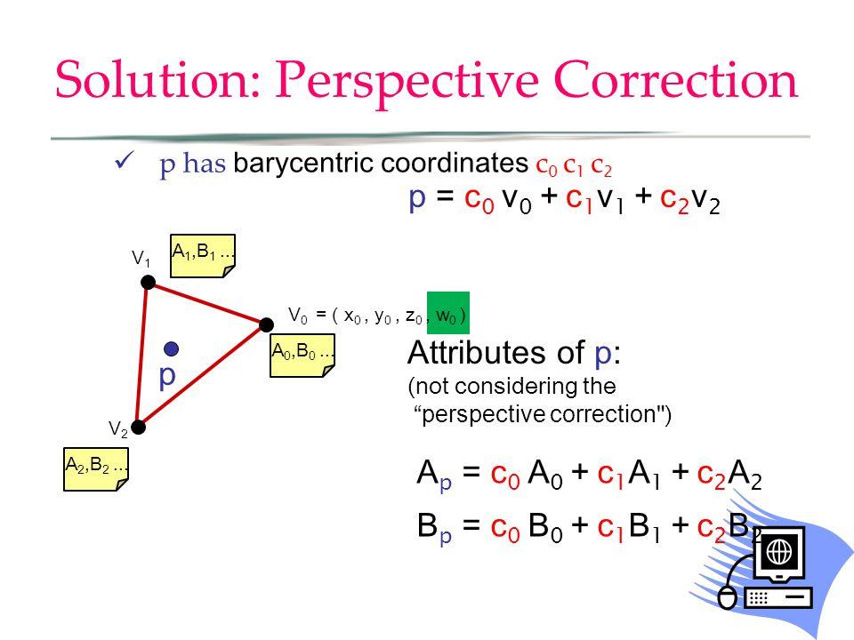 Solution: Perspective Correction p has barycentric coordinates c 0 c 1 c 2 V0V0 V2V2 V1V1 A 0,B 0...