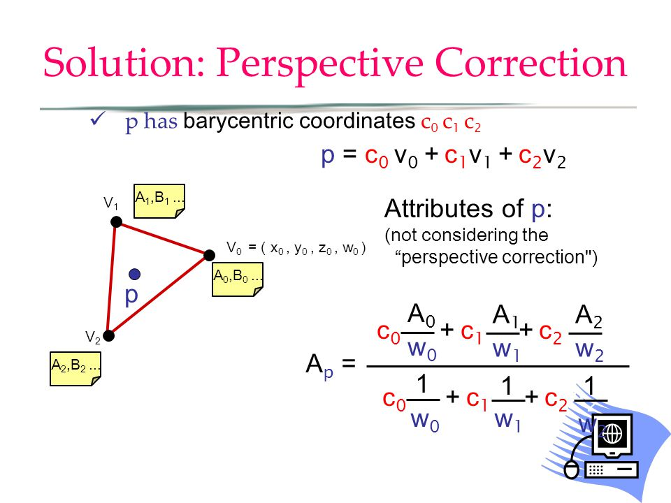 Solution: Perspective Correction p has barycentric coordinates c 0 c 1 c 2 V0V0 V2V2 V1V1 A 0,B 0... A 1,B 1... A 2,B 2... p p = c 0 v 0 + c 1 v 1 + c