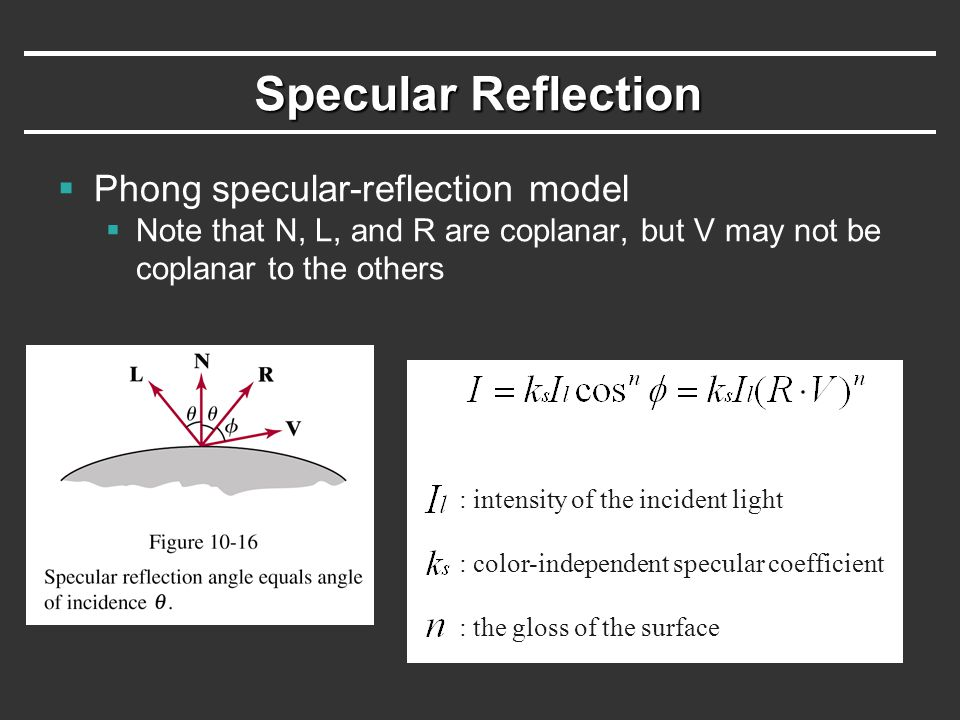 Specular Reflection  Phong specular-reflection model  Note that N, L, and R are coplanar, but V may not be coplanar to the others : intensity of the