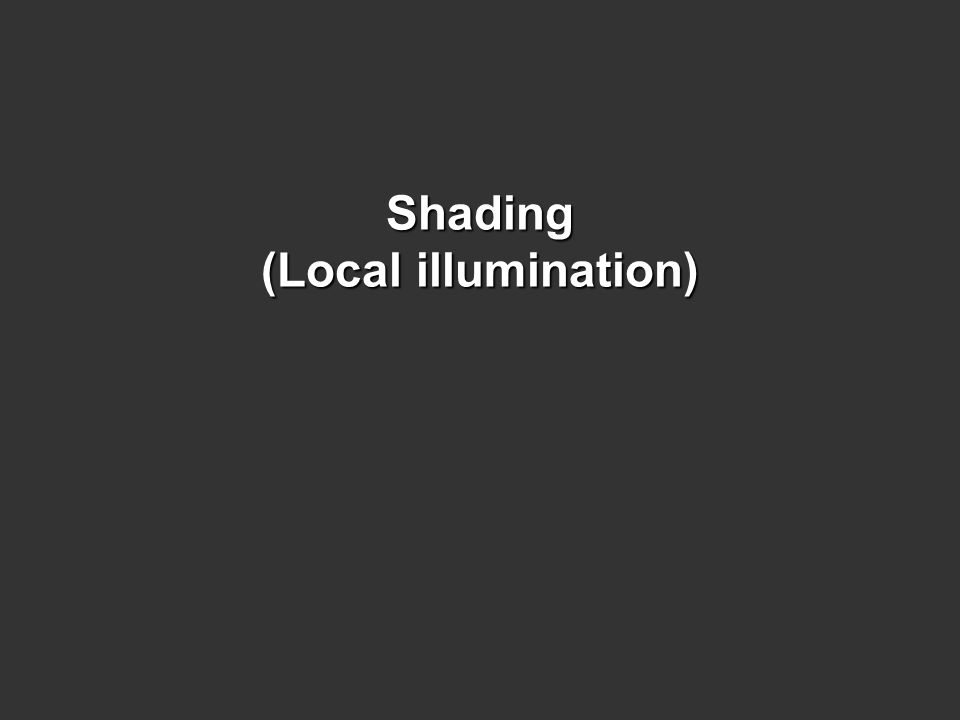 Shading (Local illumination)