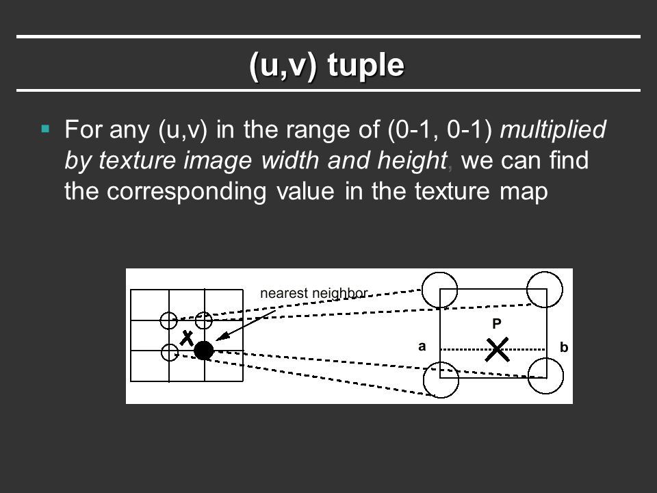 (u,v) tuple  For any (u,v) in the range of (0-1, 0-1) multiplied by texture image width and height, we can find the corresponding value in the textur