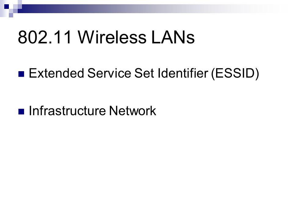 802.11 Wireless LANs Extended Service Set Identifier (ESSID) Infrastructure Network