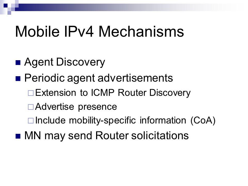 Mobile IPv4 Operation Internet Home Agent Corresponding Node Foreign Agent HAddr1 – CoA1 HAddr2 – CoA2 Tunnel Mobile Node