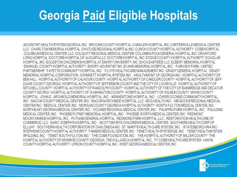 Georgia Paid Eligible Hospitals ADVENTIST HEALTH SYSTEM GEORGIA, INC ∙ BROOKS COUNTY HOSPITAL ∙CANDLER HOSPITAL, INC ∙CARTERSVILLE MEDICAL CENTER LLC