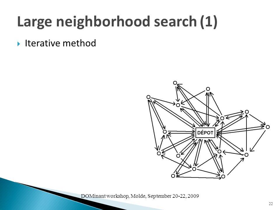 DOMinant workshop, Molde, September 20-22, 2009  Iterative method 22 Large neighborhood search (1)