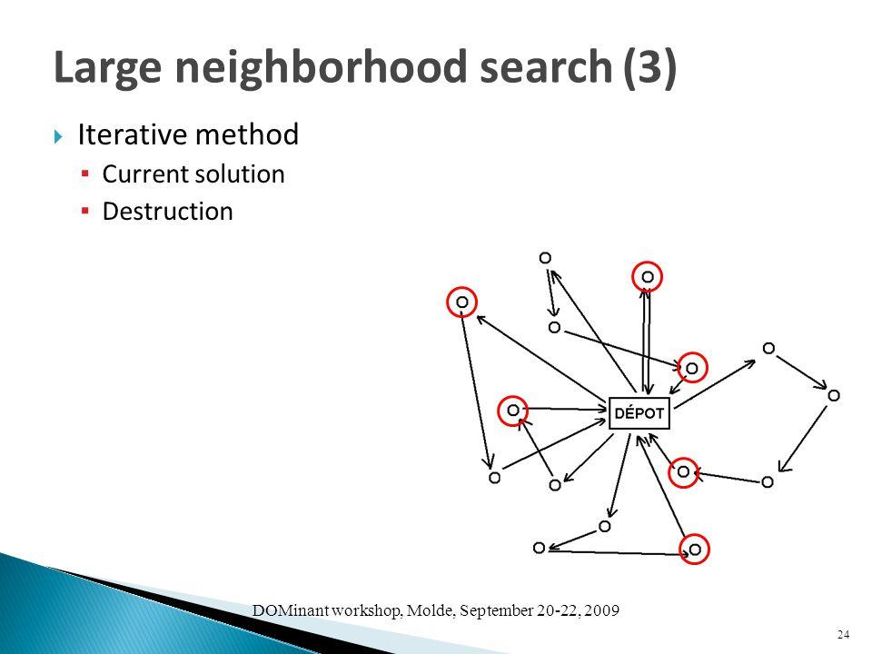 DOMinant workshop, Molde, September 20-22, 2009  Iterative method ▪ Current solution ▪ Destruction 24 Large neighborhood search (3)