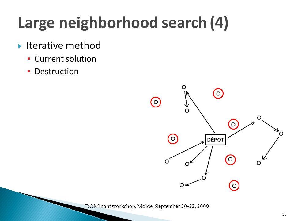 DOMinant workshop, Molde, September 20-22, 2009  Iterative method ▪ Current solution ▪ Destruction 25 Large neighborhood search (4)