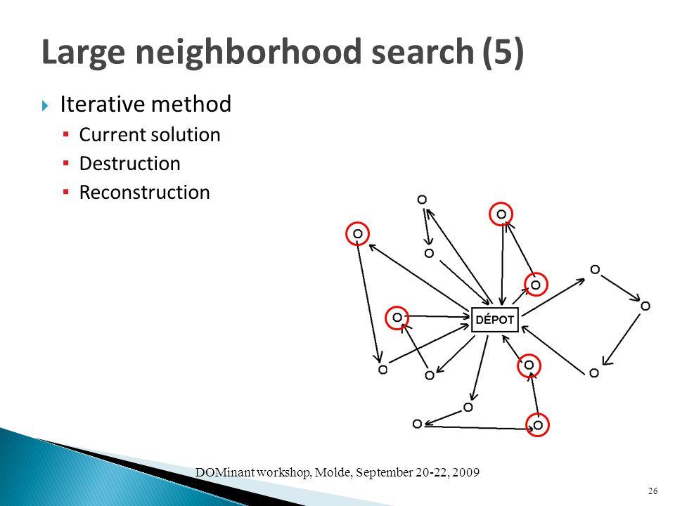 DOMinant workshop, Molde, September 20-22, 2009  Iterative method ▪ Current solution ▪ Destruction ▪ Reconstruction 26 Large neighborhood search (5)
