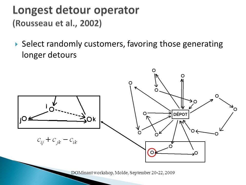 DOMinant workshop, Molde, September 20-22, 2009  Select randomly customers, favoring those generating longer detours