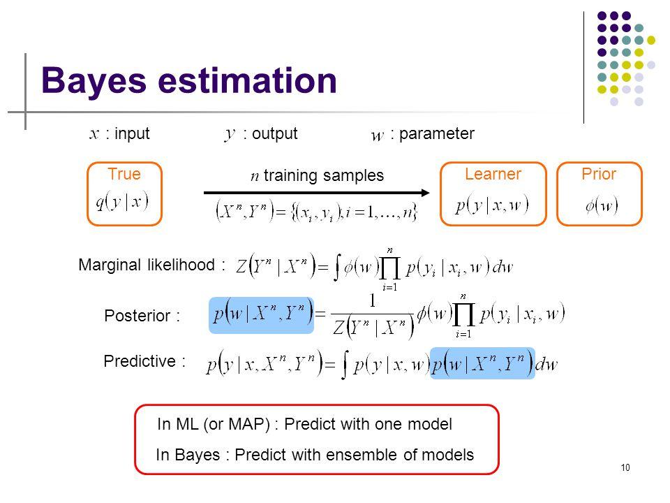 10 LearnerPrior Bayes estimation : input: output: parameter n training samples Predictive : Marginal likelihood : True Posterior : In ML (or MAP) : Pr