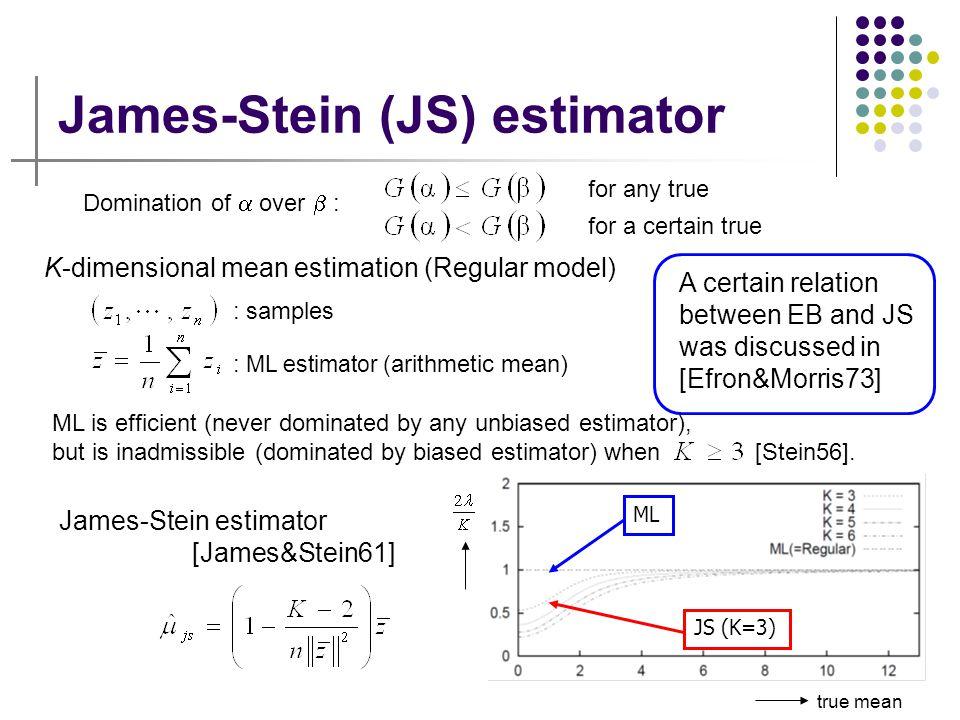17 James-Stein (JS) estimator : ML estimator ( arithmetic mean) true mean Domination of  over  : for any true for a certain true K-dimensional mean