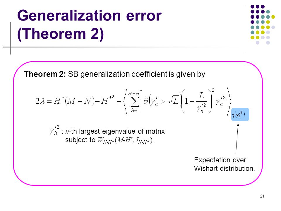 21 Generalization error (Theorem 2) : h -th largest eigenvalue of matrix subject to W N-H* (M-H *, I N-H* ). Expectation over Wishart distribution. Th
