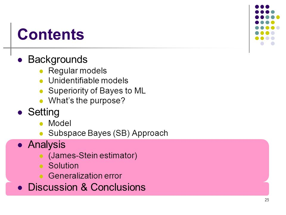 25 Contents Backgrounds Regular models Unidentifiable models Superiority of Bayes to ML What's the purpose? Setting Model Subspace Bayes (SB) Approach