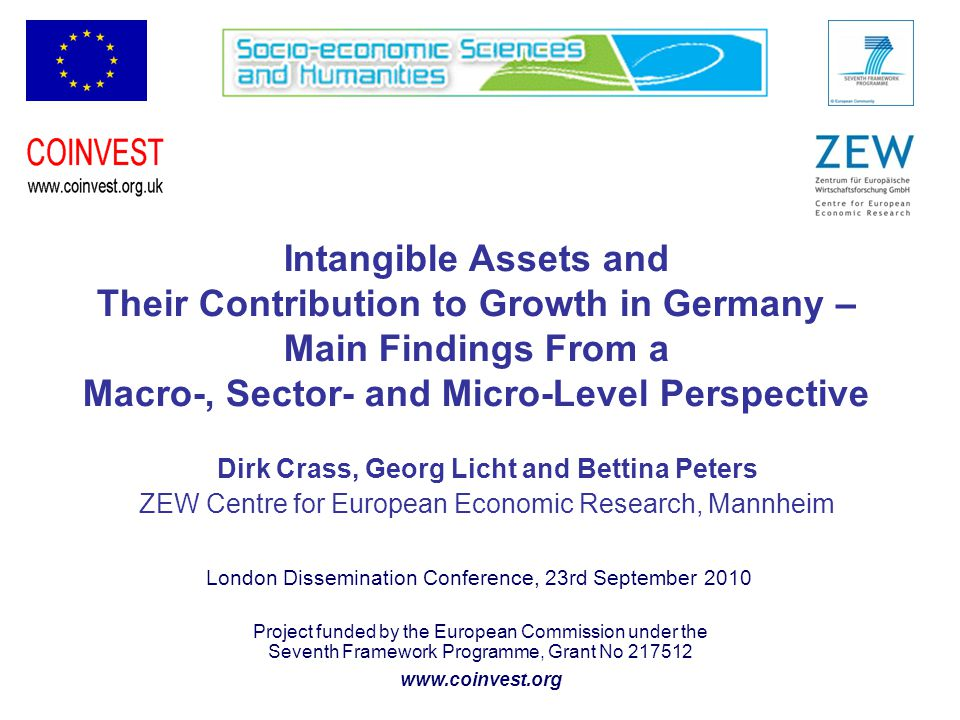 Project funded by the European Commission under the Seventh Framework Programme, Grant No 217512 www.coinvest.org Intangible Assets and Their Contribution to Growth in Germany – Main Findings From a Macro-, Sector- and Micro-Level Perspective Dirk Crass, Georg Licht and Bettina Peters ZEW Centre for European Economic Research, Mannheim London Dissemination Conference, 23rd September 2010