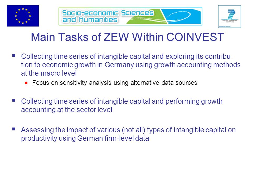 Main Tasks of ZEW Within COINVEST  Collecting time series of intangible capital and exploring its contribu- tion to economic growth in Germany using growth accounting methods at the macro level ●Focus on sensitivity analysis using alternative data sources  Collecting time series of intangible capital and performing growth accounting at the sector level  Assessing the impact of various (not all) types of intangible capital on productivity using German firm-level data