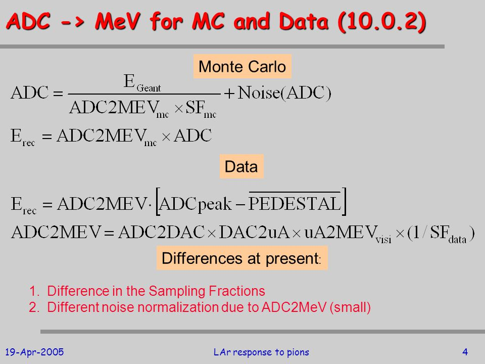 19-Apr-2005LAr response to pions4 ADC -> MeV for MC and Data (10.0.2) Monte Carlo Data Differences at present : 1.Difference in the Sampling Fractions 2.Different noise normalization due to ADC2MeV (small)