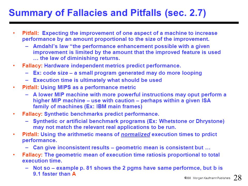 28  1998 Morgan Kaufmann Publishers Summary of Fallacies and Pitfalls (sec.