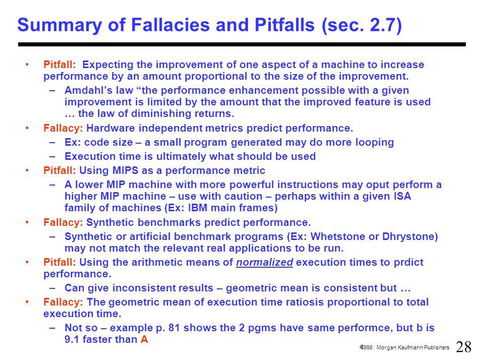 28  1998 Morgan Kaufmann Publishers Summary of Fallacies and Pitfalls (sec.