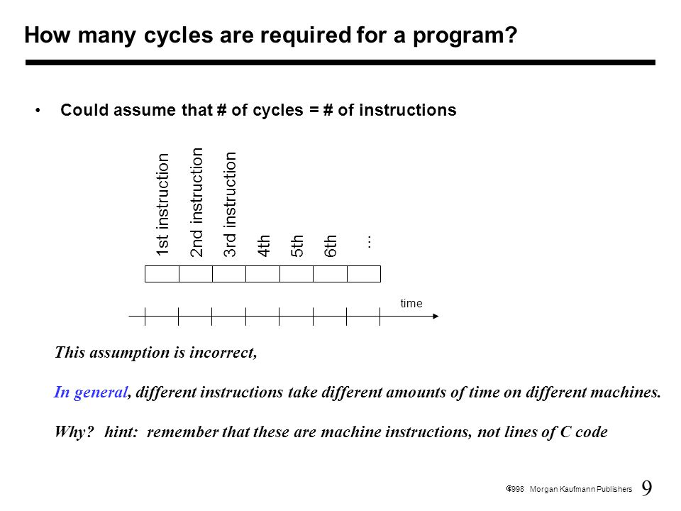9  1998 Morgan Kaufmann Publishers Could assume that # of cycles = # of instructions This assumption is incorrect, In general, different instructions take different amounts of time on different machines.
