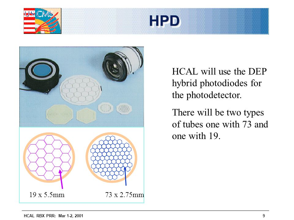 HCAL RBX PRR: Mar 1-2, 20019 HPDHPD 19 x 5.5mm73 x 2.75mm HCAL will use the DEP hybrid photodiodes for the photodetector. There will be two types of t