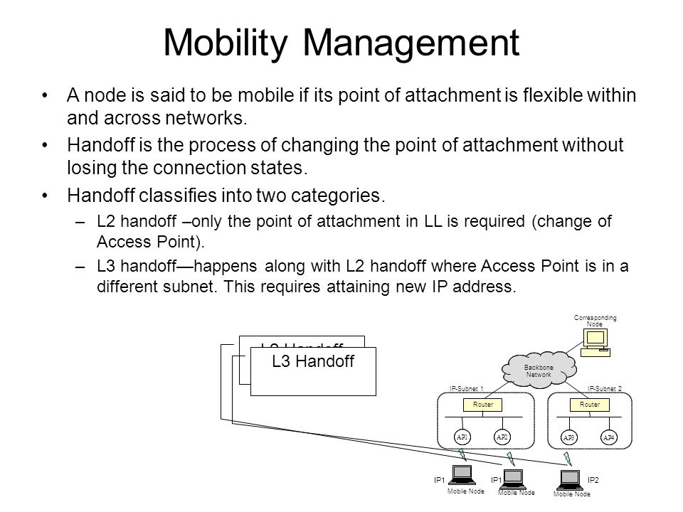Mobility Management A node is said to be mobile if its point of attachment is flexible within and across networks.