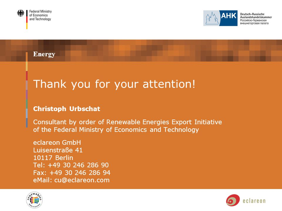 Energy Thank you for your attention.