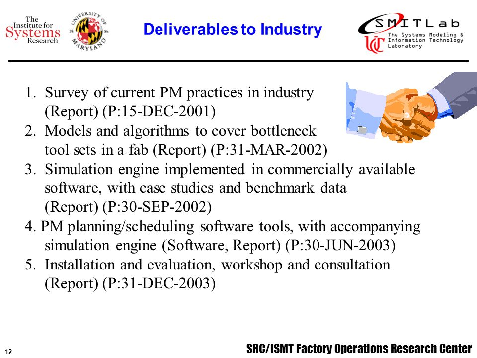 SRC/ISMT Factory Operations Research Center 12 1.