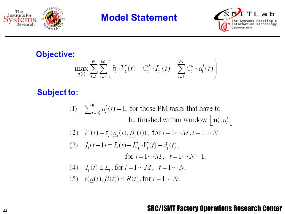 SRC/ISMT Factory Operations Research Center 22 Subject to: Objective: Model Statement